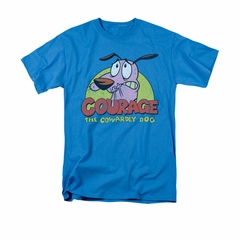 Courage The Cowardly Dog Shirt Colorful Courage Adult Turquoise Tee T-Shirt