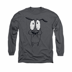 Courage The Cowardly Dog Shirt Scared Long Sleeve Charcoal Tee T-Shirt