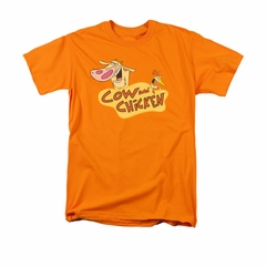 Cow & Chicken Shirt Logo Adult Orange Tee T-Shirt