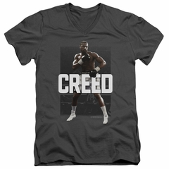 Creed Slim Fit V-Neck Shirt Adonis Johnson Final Round Charcoal T-Shirt