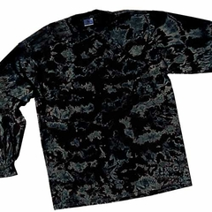 Crinkle Black Adult Unisex Tie Dye Long Sleeve Shirt