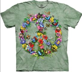 BUTTERFLY PEACE SIGN Adult Tie Dye T-shirt - CLEARANCE