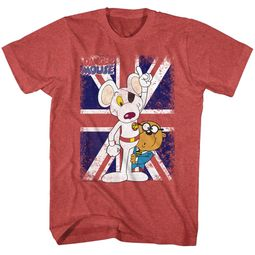 Danger Mouse Shirt Distressed British Flag Red Heather T-Shirt
