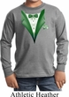 Dark Green Tuxedo Kids Long Sleeve Shirt