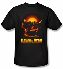 Dawn Of The Dead T-shirt Movie Dawn Collage Adult Black Tee Shirt