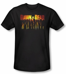 Dawn Of The Dead T-shirt Walking Adult Black Slim Fit Shirt