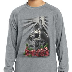 Day of the Dead Candle Skull Kids Dry Wicking Long Sleeve Shirt