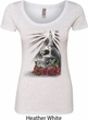 Day of the Dead Candle Skull Ladies Heather White Scoop Neck Shirt