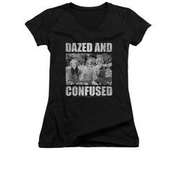 Dazed And Confused Shirt Juniors V Neck Rock On Black Tee T-Shirt