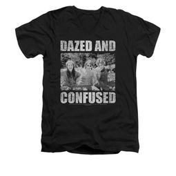 Dazed And Confused Shirt Slim Fit V Neck Rock On Black Tee T-Shirt