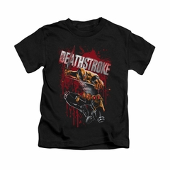 Deathstroke Shirt Blood Splattered Kids Black Youth Tee T-Shirt
