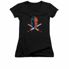 Deathstroke Shirt Juniors V Neck Crossed Swords Black Tee T-Shirt