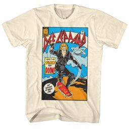 Def Leppard Shirt Comic Cream Tee T-Shirt