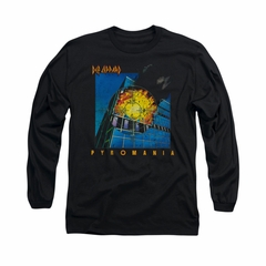 Def Leppard Shirt Pyromania Long Sleeve Black Tee T-Shirt