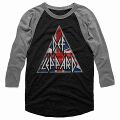 Def Leppard Shirt Raglan Union Jack Logo Triangle Black/Grey Shirt
