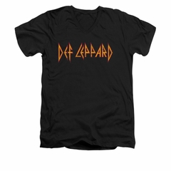 Def Leppard Shirt Slim Fit V-Neck Horizontal Logo Black T-Shirt