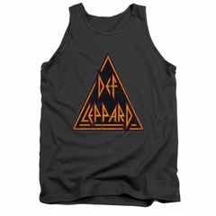 Def Leppard Shirt Tank Top Distressed Logo Charcoal Tanktop