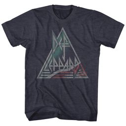 Def Leppard Shirt Triangle Band Logo Navy Heather T-Shirt