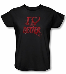 Dexter Ladies Shirt I Heart Dexter Black  T-Shirt Tee
