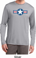 Distressed Air Force Star Mens Dry Wicking Long Sleeve Shirt