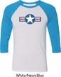 Distressed Air Force Star Mens Raglan Shirt