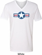 Distressed Air Force Star Mens V-Neck Shirt