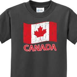 Distressed Canada Flag Kids Shirts