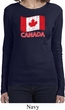 Distressed Canada Flag Ladies Long Sleeve Shirt