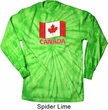 Distressed Canada Flag Long Sleeve Tie Dye Shirt