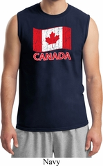 Distressed Canada Flag Mens Muscle Shirt