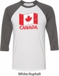 Distressed Canada Flag Mens Raglan Shirt