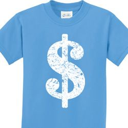 Distressed Dollar Sign Kids Funny Shirts