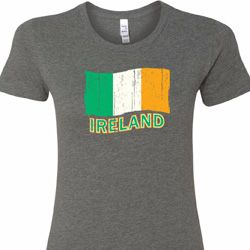 Distressed Ireland Flag Ladies St Patrick's Day Shirts