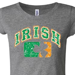 Distressed Irish Shamrock Ladies Shirts