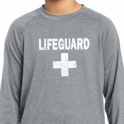 Distressed Lifeguard Kids Dry Wicking Long Sleeve Shirt