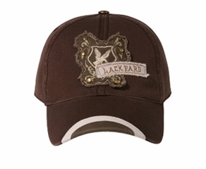 Distressed Patch Hat with Antique Brass Studs Lackpard Cap Brown