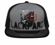 Distressed Patches Flat Visor Hat Mesh Back Lackpard Cap Black/Gray