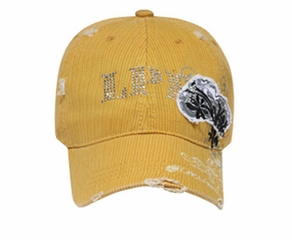 Distressed Pin-striped Hat with Rhinestones Lackpard Cap Mustard