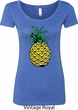 Distressed Pineapple Ladies Scoop Neck Shirt