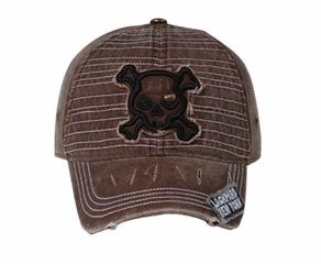Distressed Skull Patch 3D Hat - Lackpard Cap – Brown