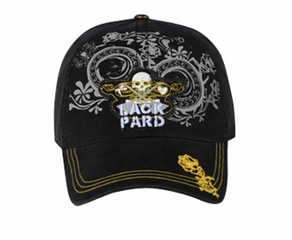 Distressed Skull Patch Lackpard on Printed Design Hat Cap - Black