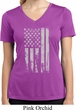 Distressed Stars and Stripes Flag Ladies Moisture Wicking V-neck Shirt