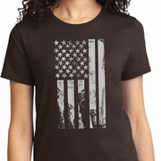 Distressed Stars and Stripes Flag Ladies Shirts