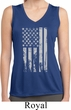 Distressed Stars and Stripes Flag Ladies Sleeveless Dry Wicking Shirt