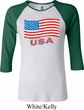 Distressed USA Flag Ladies Raglan Shirt