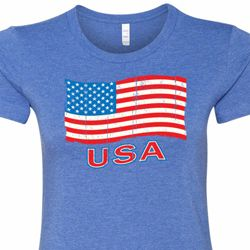 Distressed USA Flag Ladies Shirts