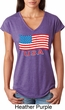 Distressed USA Flag Ladies Tri Blend V-Neck Shirt