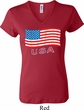 Distressed USA Flag Ladies V-neck Shirt
