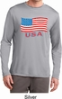 Distressed USA Flag Mens Dry Wicking Long Sleeve Shirt