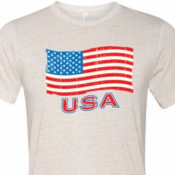 Distressed USA Flag Mens Tri Blend Crewneck Shirt